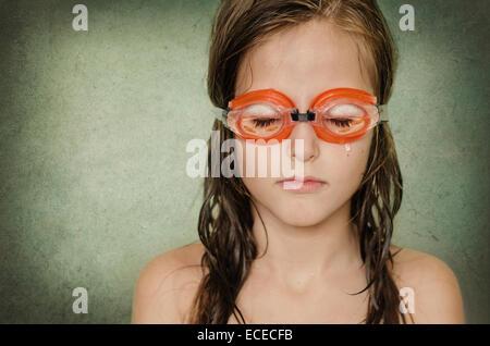 Dreaming little girl (8-9) - Stock Photo