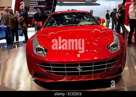 GENEVA - MARCH 8: The Ferrari FF on display at the 81st International Motor Show Palexpo-Geneva on March 8; 2011 - Stock Photo