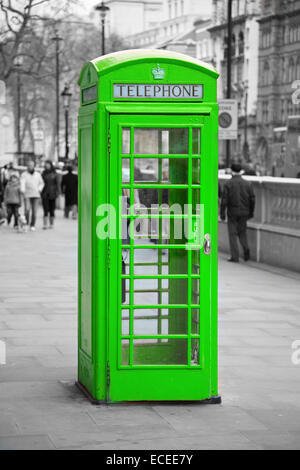 Famous telephone booth in London, UK - Stock Photo