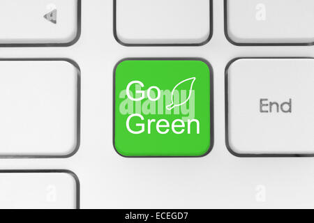 Go green button on keyboard - Stock Photo