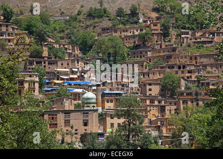 Interconnected houses made of adobe, rods and bole in terrace style in the village Masuleh / Massulya, Gilan Province, - Stock Photo