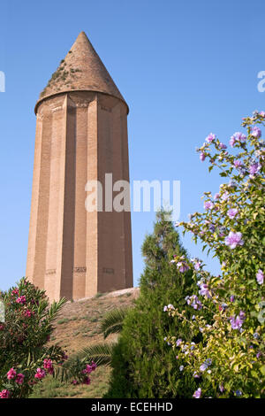 The tower of Kavus, remnant of Ziyarid architecture in Gonbad-e Kavus / Gonbad, Golestan Province, Iran - Stock Photo