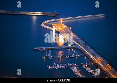 The harbor in Porto Santo, Madeira islands, Portugal, night view - Stock Photo