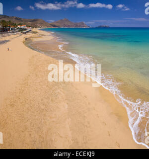Porto Santo beach, aerial view, Madeira islands - Stock Photo