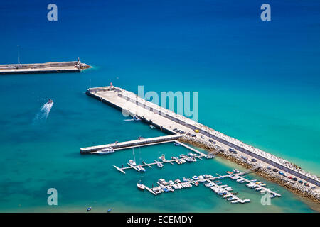 The harbor in Porto Santo, Madeira islands, Portugal, port - Stock Photo