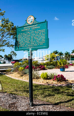 Historic site marker of the once Southernmost narrow-guage railroad terminal in Punta Gorda,  Florida - Stock Photo