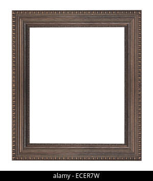 Wooden picture frame isolated on white background. - Stock Photo