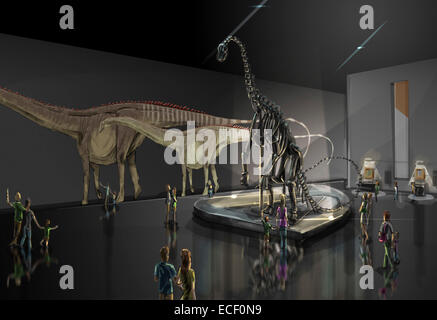 Exhibition space featuring Diplodocus longus. - Stock Photo
