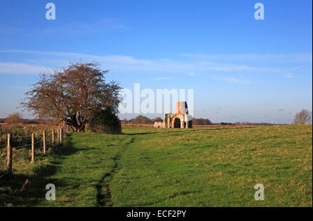 A view of the ruins of St Benet's Abbey and the Drainage Mill on the Norfolk Broads near Horning, Norfolk, England, - Stock Photo