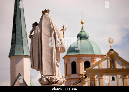 statue of Maria on Kapellplatz square in Altoetting, Upper-Bavaria, Bavaria, Germany, Europe - Stock Photo