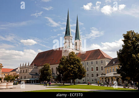 Collegiate church St. Philipp and Jacob on Kapellplatz square in Altoetting, Upper-Bavaria, Bavaria, Germany, Europe - Stock Photo