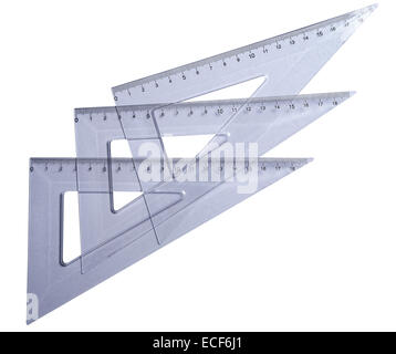 Metric transparetn plastic triangle isolated with clipping path (w/o shadow). Very high resolution and lot of details. - Stock Photo