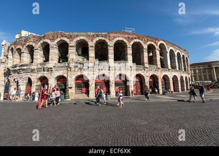 The Verona Arena, Arena di Verona, is a Roman amphitheatre in Piazza Bra in Verona, - Stock Photo