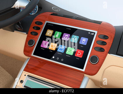 Smart touch screen multimedia system for automobile - Stock Photo