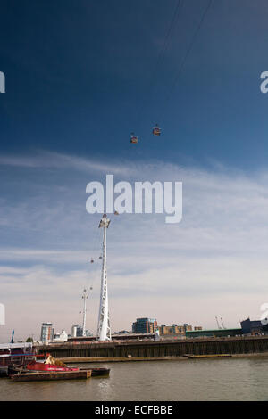 The Emirates Air Line (also known as the Thames cable car) Greenwich/ Docklands, London,Greater London,UK - Stock Photo