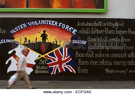 Northern Ireland, Belfast, painted wall in catholic area - Stock Photo