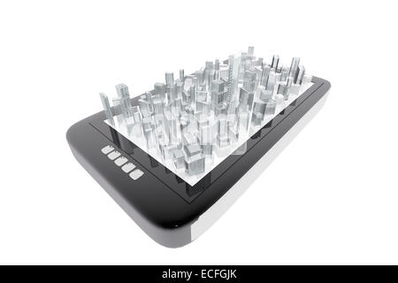 City buildings in mobile tablet - Stock Photo