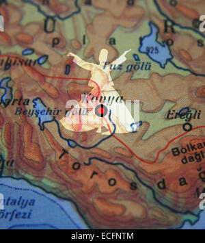 Konya city on map and whirling dervish in Turkey Stock Photo