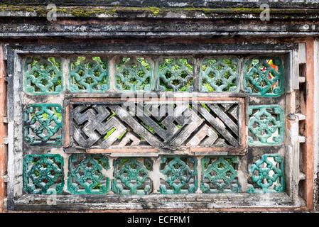 Stone wall detail at ancient capital city of Hua Lu, Nimh Binh Provence - Stock Photo