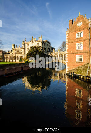 View of Bridge of Sighs and New Court in St John's College in Cambridge from Wren Bridge. - Stock Photo