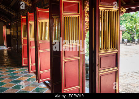 Detail of door to in Imperial City, Hue - Stock Photo