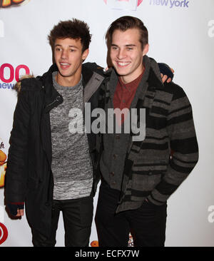 New York, New York, USA. 12th Dec, 2014. Vine actors MARCUS JOHNS and CAMERON DALLAS attend the Z100's Jingle Ball - Stock Photo