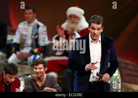 Nuremberg, Germany. 13th Dec, 2014. Presenter Markus Lanz stands on stage during the final edition of the German - Stock Photo