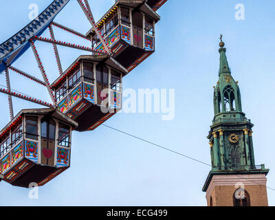 Christmas market Ferris wheel with traditional pods, Berliner Weihnachtszeit, weihnachtsmarkt at Alexanderplatz, - Stock Photo