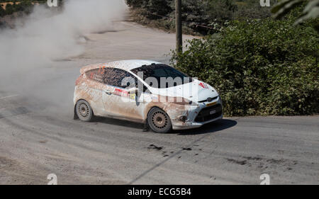 ISTANBUL TURKEY JULY 13 2014 Eytan Halfon drives Ford Fiesta R2 35. Istanbul Rally Ulupelit ITO Stage - Stock Photo