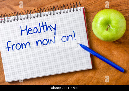 Healthy from now on written on a notepad - Stock Photo