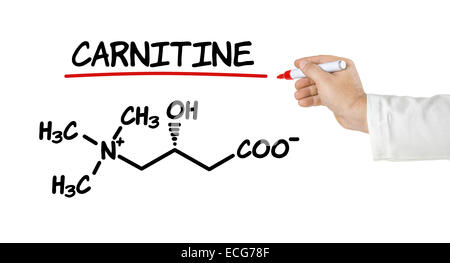 Chemical formula of carnitine on a white background - Stock Photo