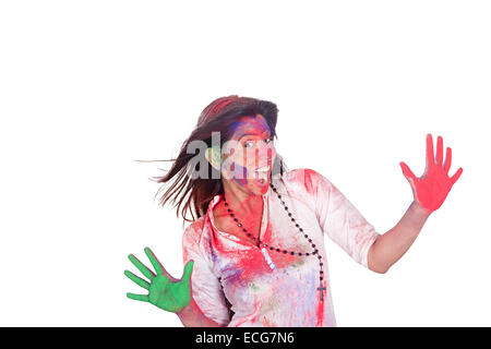 indian lady Holi Festival enjoy - Stock Photo