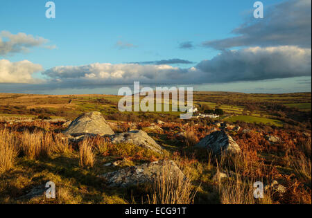 Early evening light on Tregarrick Tor on Bodmin Moor - Stock Photo
