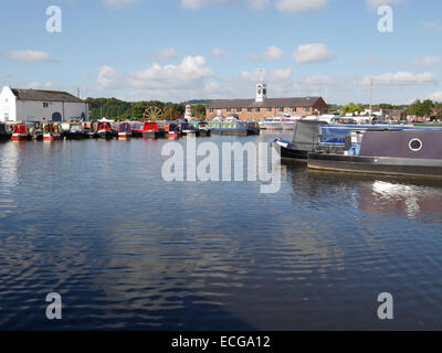 canal narrow boats moored in Stourport basin Worcestershire england UK - Stock Photo