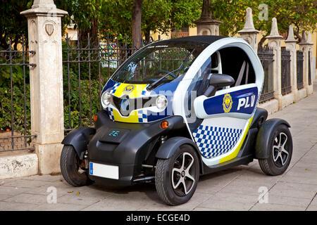 Police car on the street of Valencia, Spain. - Stock Photo