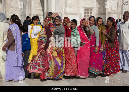 Indian women queuing at the Taj Mahal, Agra, India - Stock Photo