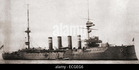 HMS Hampshire, Devonshire-class armoured cruiser built for the Royal Navy, sunk after hitting a German mine and - Stock Photo