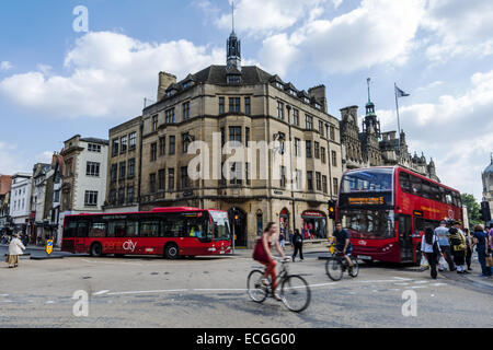 Carfax is located at the conjunction of St Aldate's, Cornmarket Street, Queen Street and the High Street in Oxford - Stock Photo