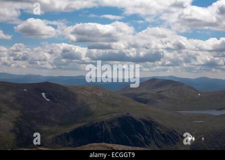 Loch Etchachan Carn Etchachan  Beinn Mheadhoin Derry Cairngorm in  background from Cairn Gorm Cairngorm mountains - Stock Photo