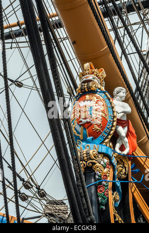 Figurehead of the HMS Victory a first rate ship of the line of the Royal Navy, Portsmouth Harbor, Hampshire, England, - Stock Photo