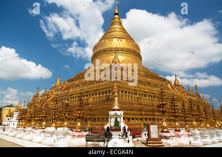 Shwezigon Pagoda , Bagan in Myanmar (Burma) - Stock Photo