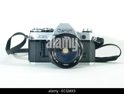 Canon AE1 SLR manual film camera - Stock Photo