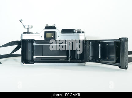 Canon AE1 SLR manual film camera, back open ready to be loaded with film - Stock Photo