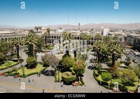 Plaza de Armas, Arequipa, Peru, South America - Stock Photo