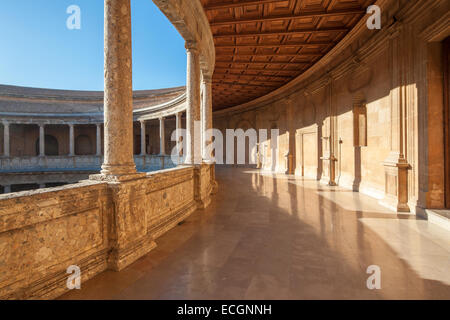 Renaissance palace of holy roman emperor Charles V in the Alhambra Granada Spain. Palacio Carlos V. Inner circular - Stock Photo