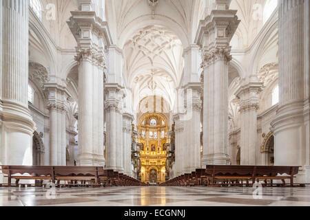 Granada Spain. Interior of The Granada Cathedral, Catedral de Granada, Catedral de la Anunciacion, Cathedral of - Stock Photo
