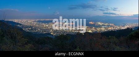 Kobe harbour night view from Kobe Maya mountain. - Stock Photo