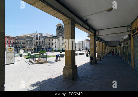 UBEDA, JAEN PROVINCE, SPAIN - APRIL 16, 2013: Arcades of the Plaza de Andalucia, in Ubeda, Jaen Province, Spain - Stock Photo