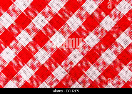 Red and white checkered tablecloth pattern texture as background - Stock Photo