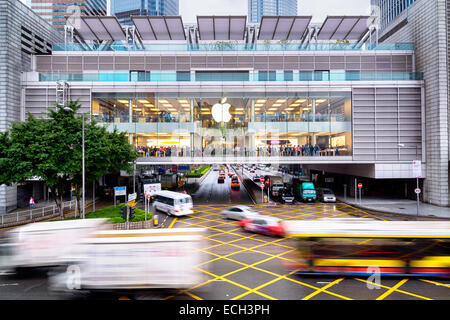 Hong Kong, Hong Kong SAR -November 08, 2014:A busy Apple Store in Hong Kong located inside IFC shopping mall, Hong - Stock Photo